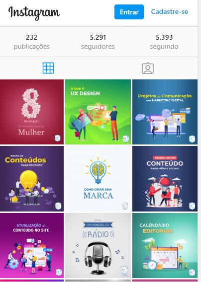 Feed de posts no Instagram da 23 Studios para vender produtos e serviços