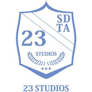 Logo 23 Studios branco e azul